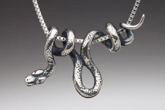Silver Snake Necklace Snake Jewelry Vine Snake Pendant Snake