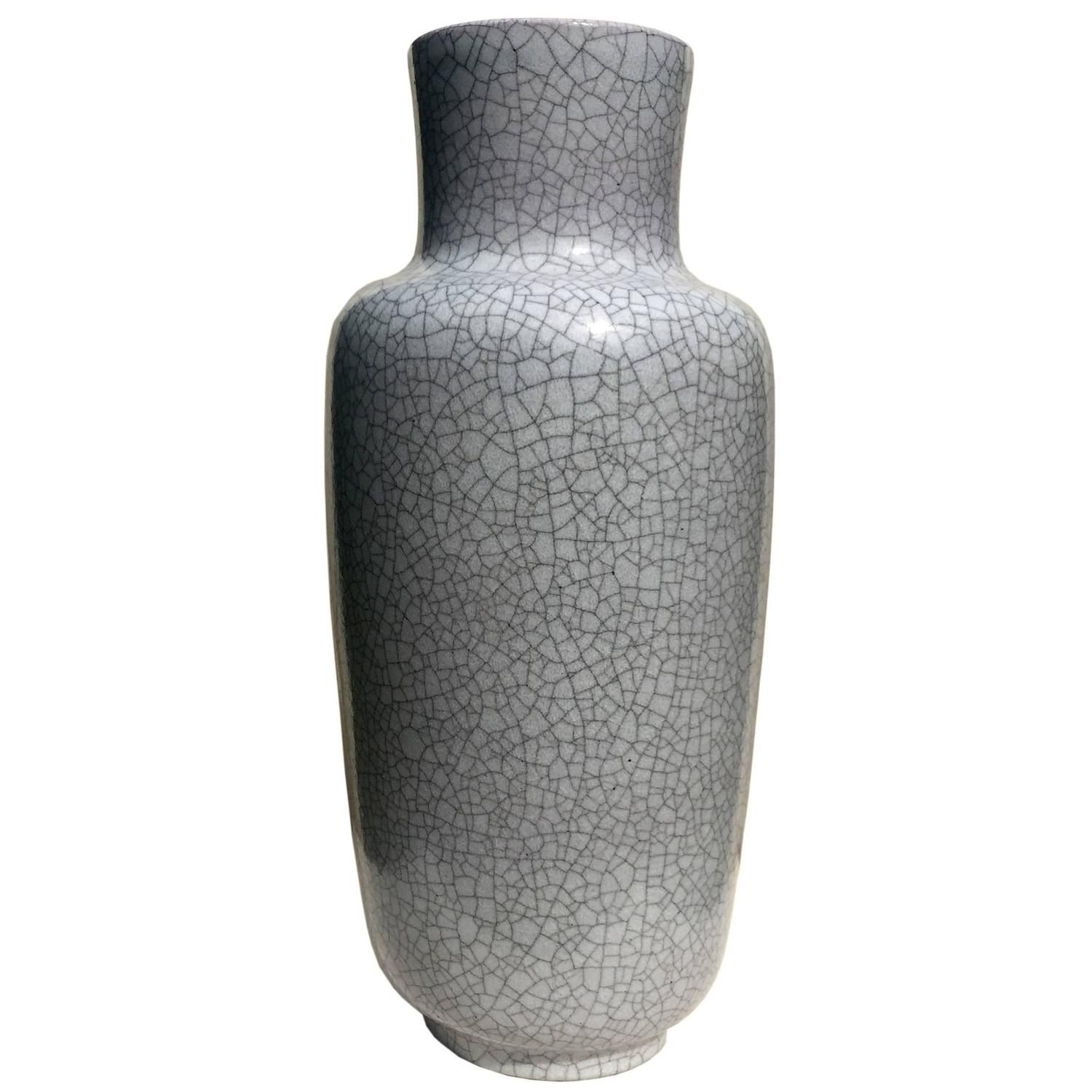 Floor Vase in Gray Crackled Glaze by Glatzle for Karlsruhe