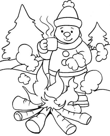 Bonfire, a hot cup of coffee in winter is most ideal coloring page - best of coloring pages fall and winter
