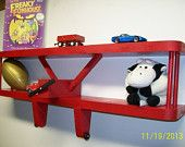 """Airplane Aviation Theme Wall Hanging Shelf - Also Great For Kids Room  /Extra Large - 24"""" - Made to Order"""
