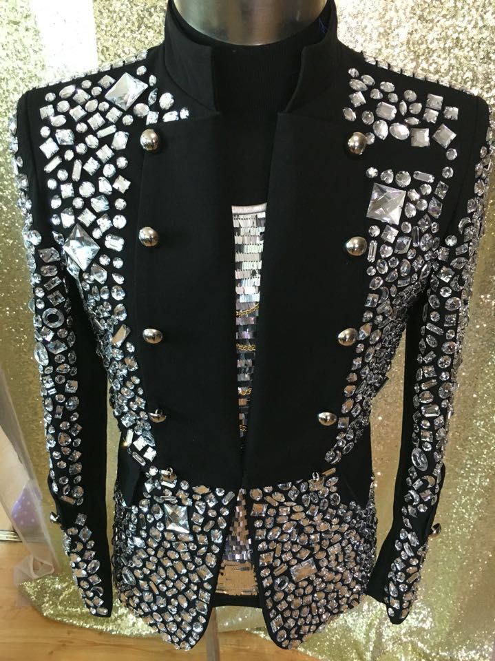 f8bd8838fec6a Click to Buy << Plus Size Costomized Men's Black Crystal Jacket Ds Dj Male  Singer Dancer Performance Outerwear Costume Rhinestone Jacket Outfit  #Affiliate. >>