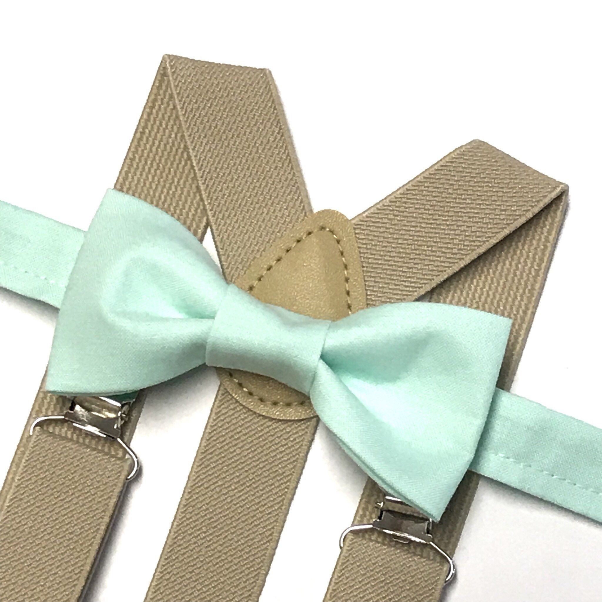 Mint bow tie with beige suspenders mint green bow tie