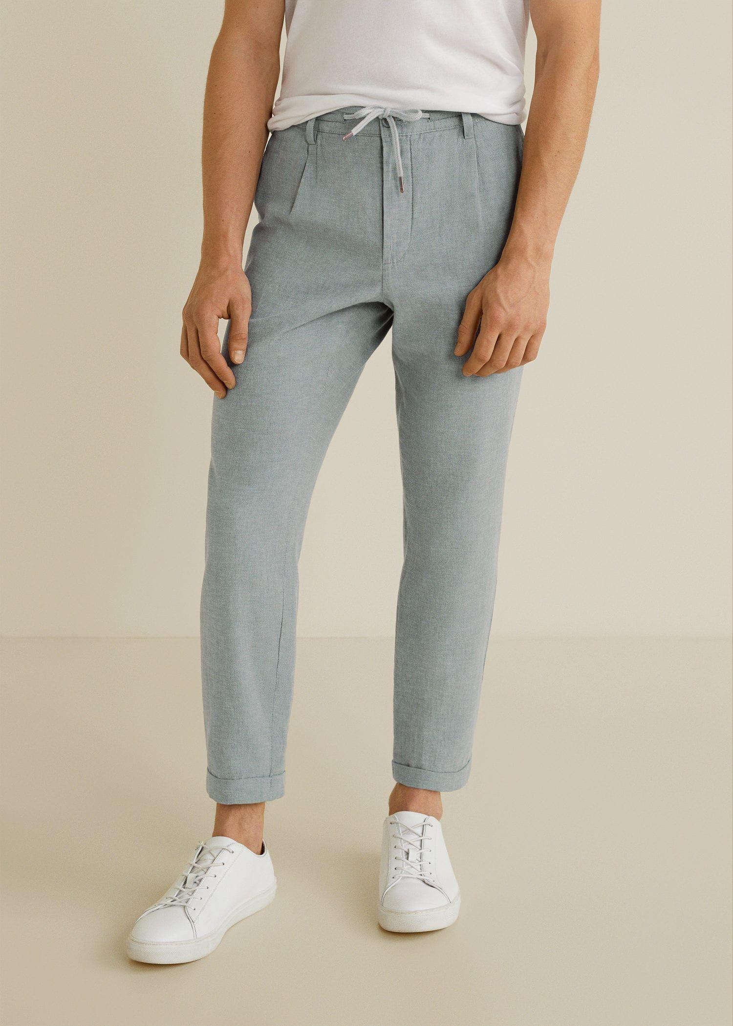 Jogger algodón lino - Hombre | Mango Man España | Moda ropa hombre,  Pantalones casuales, Ropa