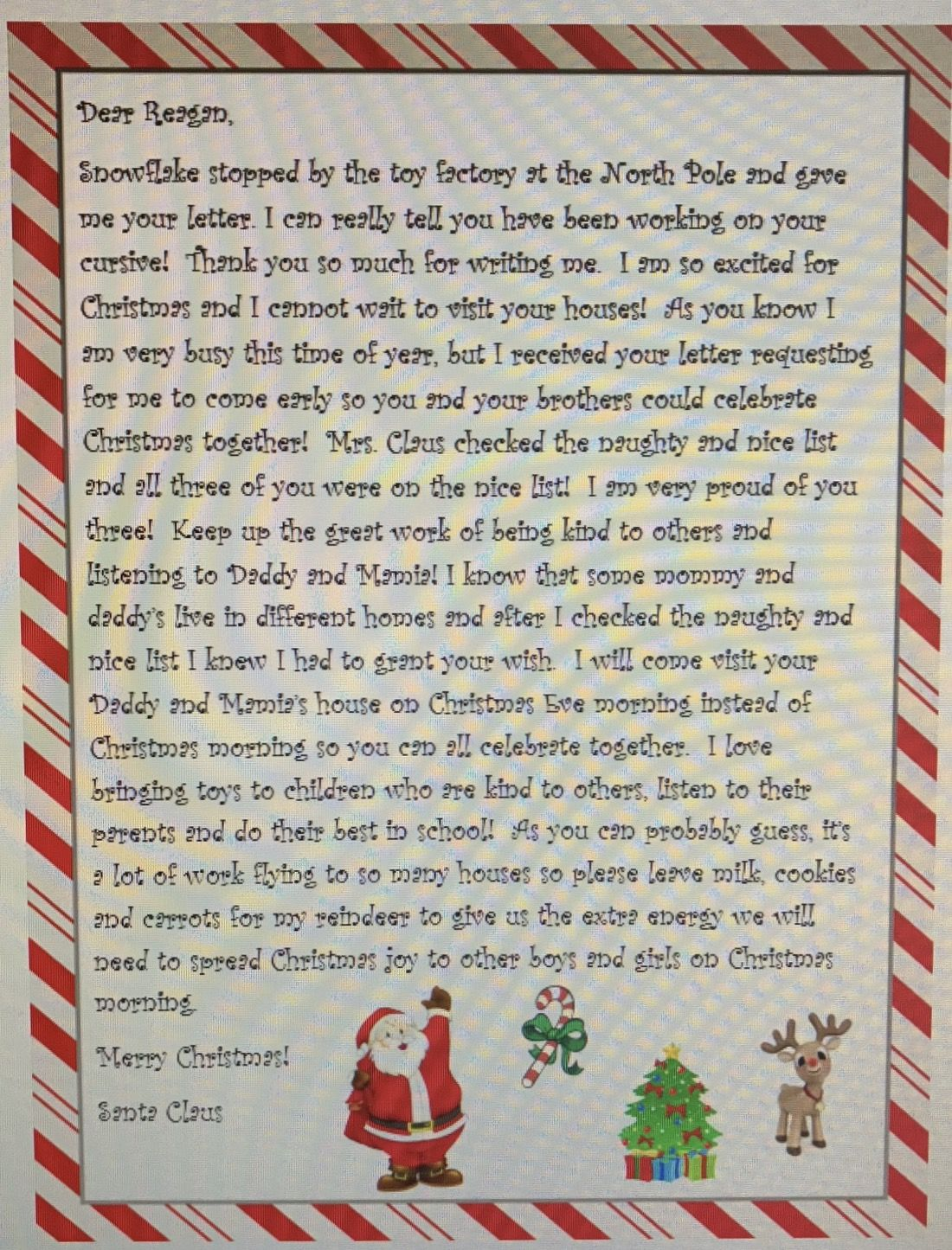 Letter From Santa To Come Early Divorcedparents Christmas Letter From Santa Christmas Lettering Santa Letter