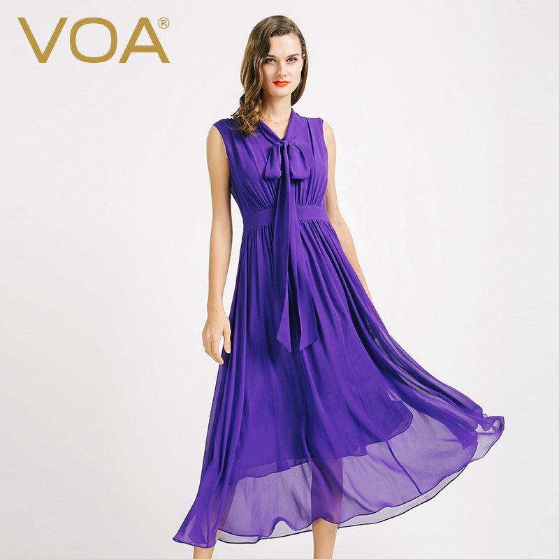 Encontrar Más Vestidos Información acerca de VOA seda púrpura vestido sin  mangas de cuello de chal de costura fold sets caps head A6727 delgados Una  Línea ... 1de11fb5d08d