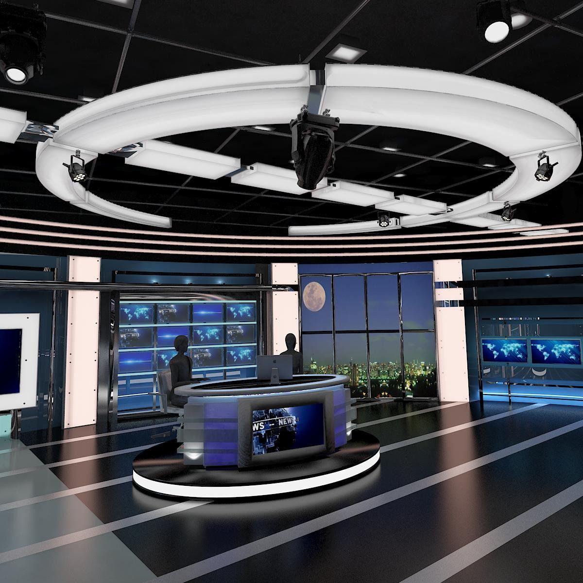 3d Model Tv Virtual Stage News Studio Design Room