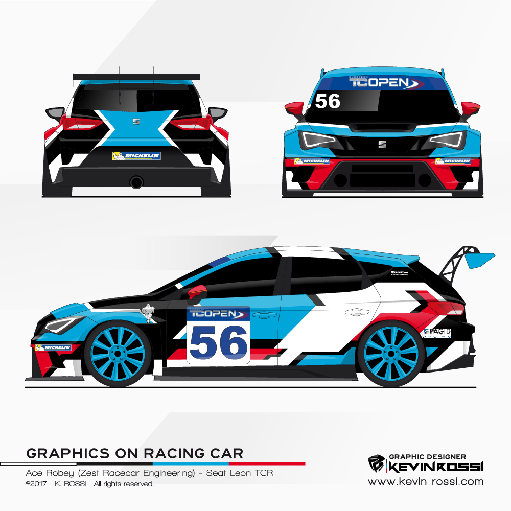 Car livery design for TC Open driver Ace Robey On Seat