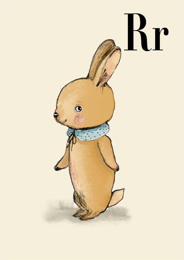 Rabbit print, nursery animal print, woodland nursery, alphabet ...