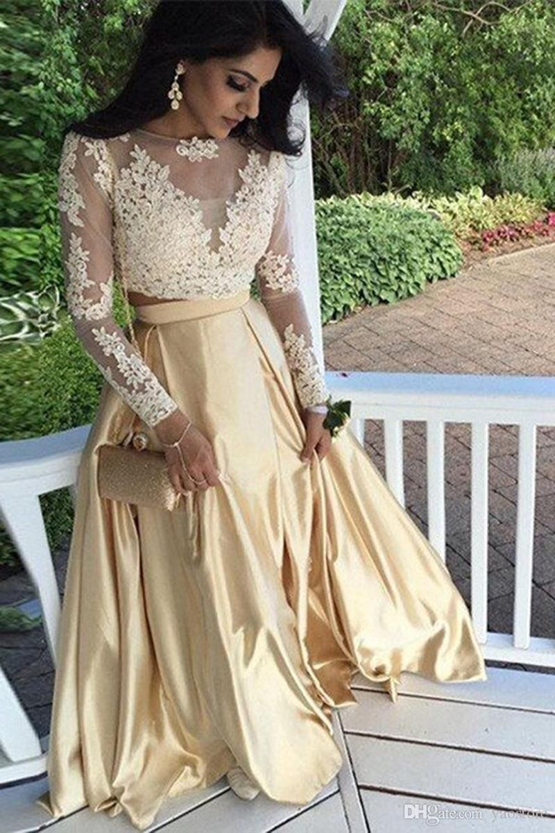 Two Pieces Long Sleees Rose Gold Prom Dresses 2017 Special Occasion ...