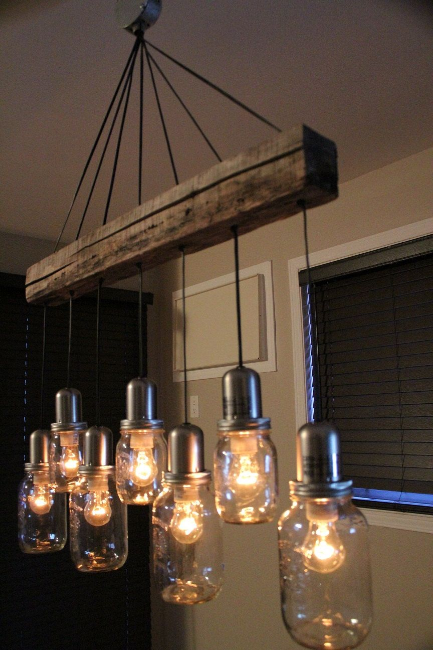 Unique mason jar light chandelier pendant ceiling 7 jars for Vintage lampen