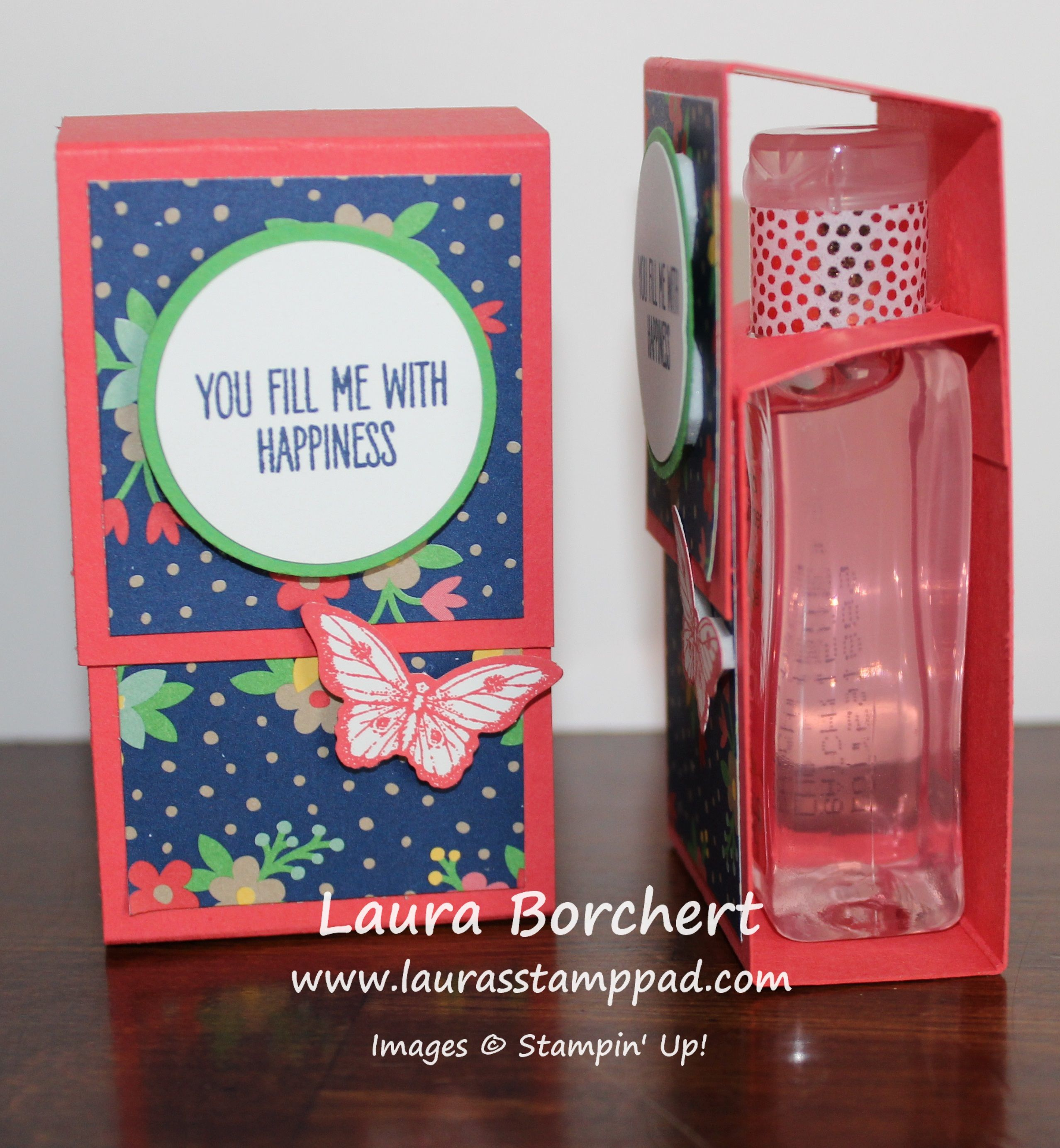 fill-me-with-happiness, gift package, Affectionately Yours Designer Paper, Papillon Potpourri Stampin' Up Stamp Set, Bitty Butterfly Punch, Circle Punches,  www.LaurasStampPad.com