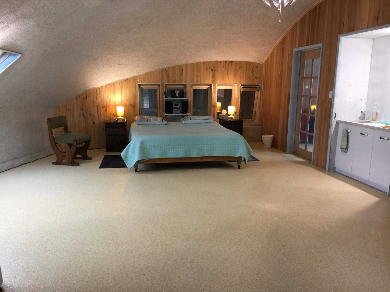 Interior design dome home - Master Bedroom In The New 3 Level Monolithic Dome Home That Has Been Completed In