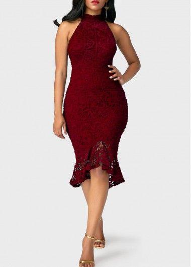 3067a23b2969a ... 9a918b716a9 Peplum Hem Sleeveless Mock Neck Burgundy Sheath Dress ...