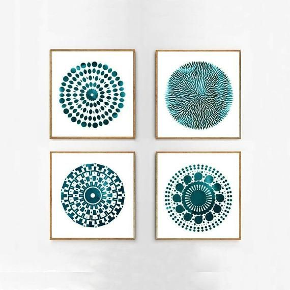 Turquoise Blue Mandala Prints Set of 4 Abstract Wa