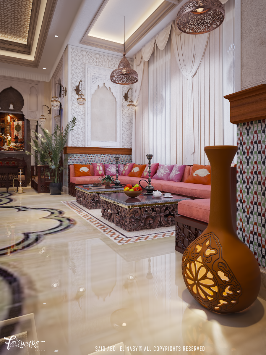 Arabic majlis in dubai on behance middle eastern for Deco salon oriental