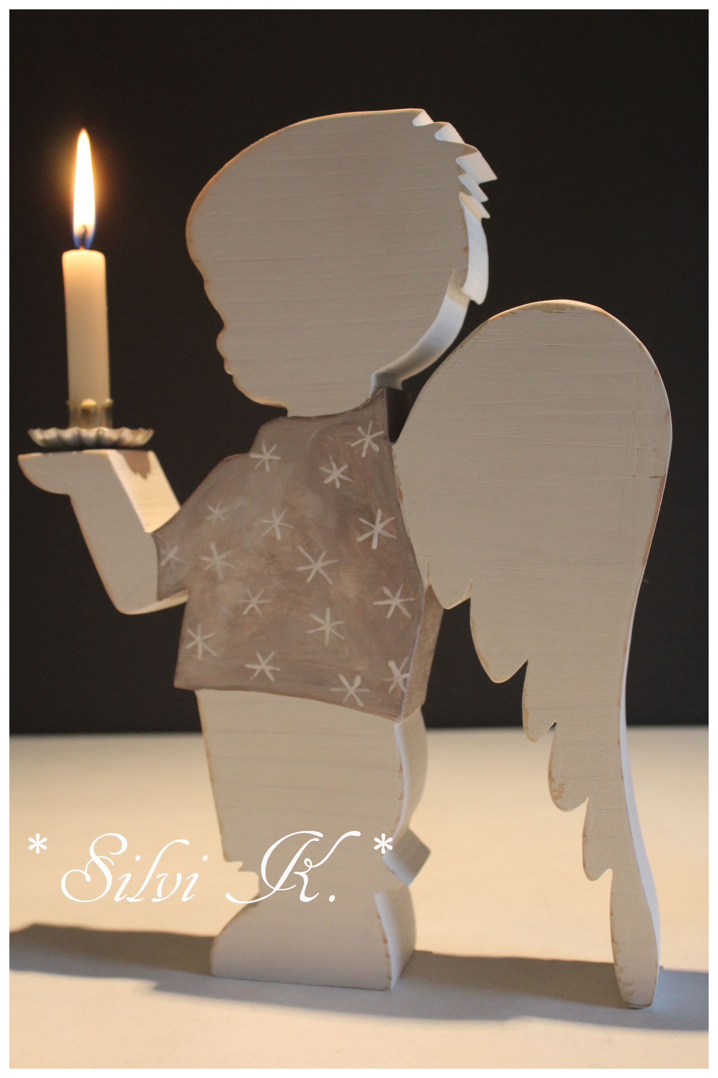 Shabby engel leuchter bub 26 5 cm gro engelchen holz und shops - Holzarbeiten weihnachten ...