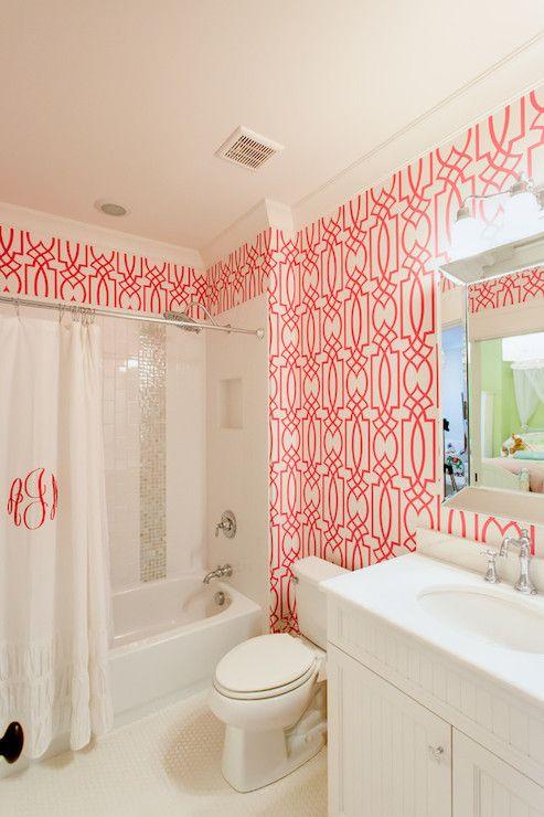 Jacksonbuilt Custom Homes Bathrooms Dolce Vita Wallpaper Shower Niche Drop In Tub Bathtub Trellis Pink