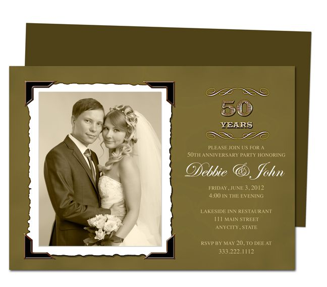 Wedding Anniverary Invitation Templates : Vintage Golden 50Th