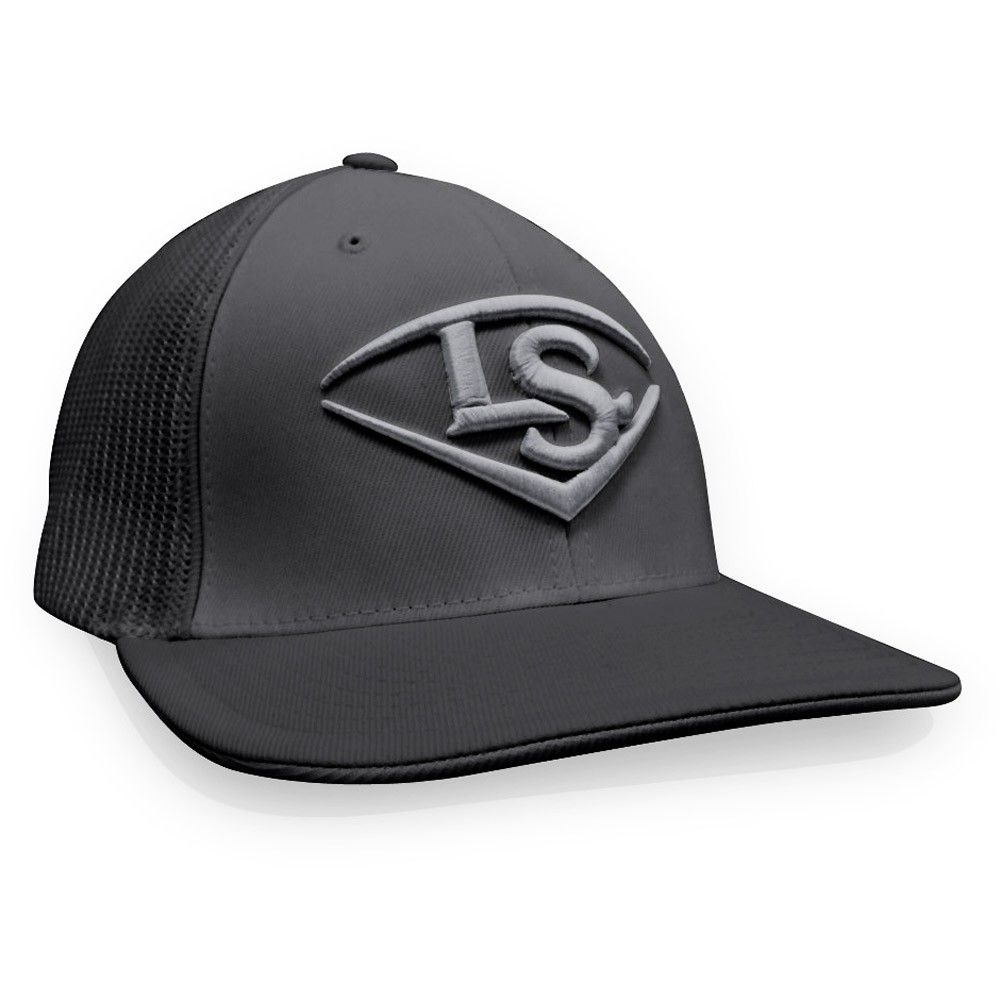 8b133d11fbd Louisville Slugger LS Logo Baseball Softball Trucker Hat - Graphite Silver  (Grey Silver) - S M