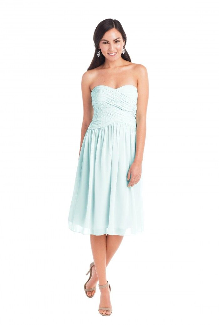 A knee-length strapless bridesmaid dress with sweetheart bodice in five colors. Affordable designer bridesmaid dresses to buy or rent at Vow To Be Chic.