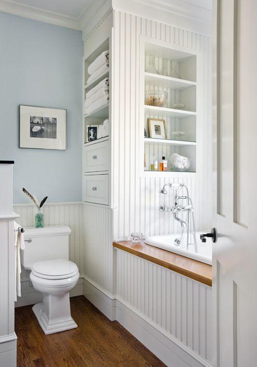 Inset Shelves And Drawers Powder Blue White Bathroom