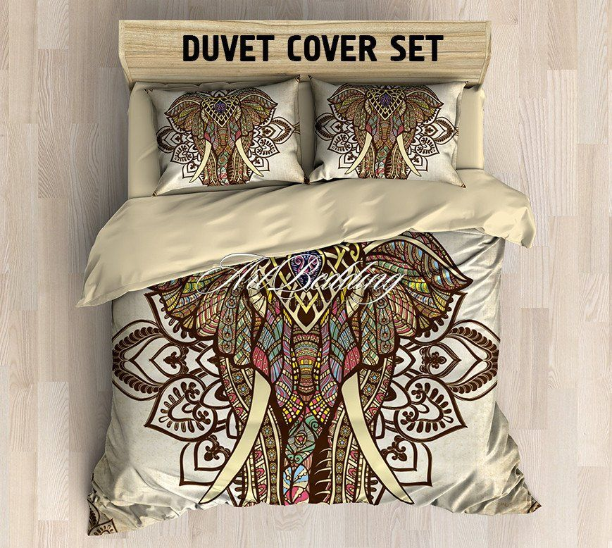 Elephant Bedding Bohemian Duvet Cover Set Elephant Mandala