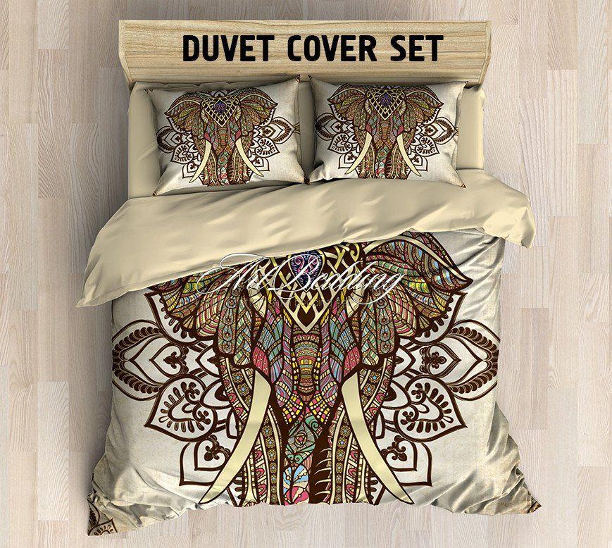 Elephant Bedding Bohemian Duvet Cover Set Elephant Mandala Vintage Bedding Set Boho Indie Bedroom Duvet Cover Sets Vintage Bedding Set Duvet Covers Bohemian
