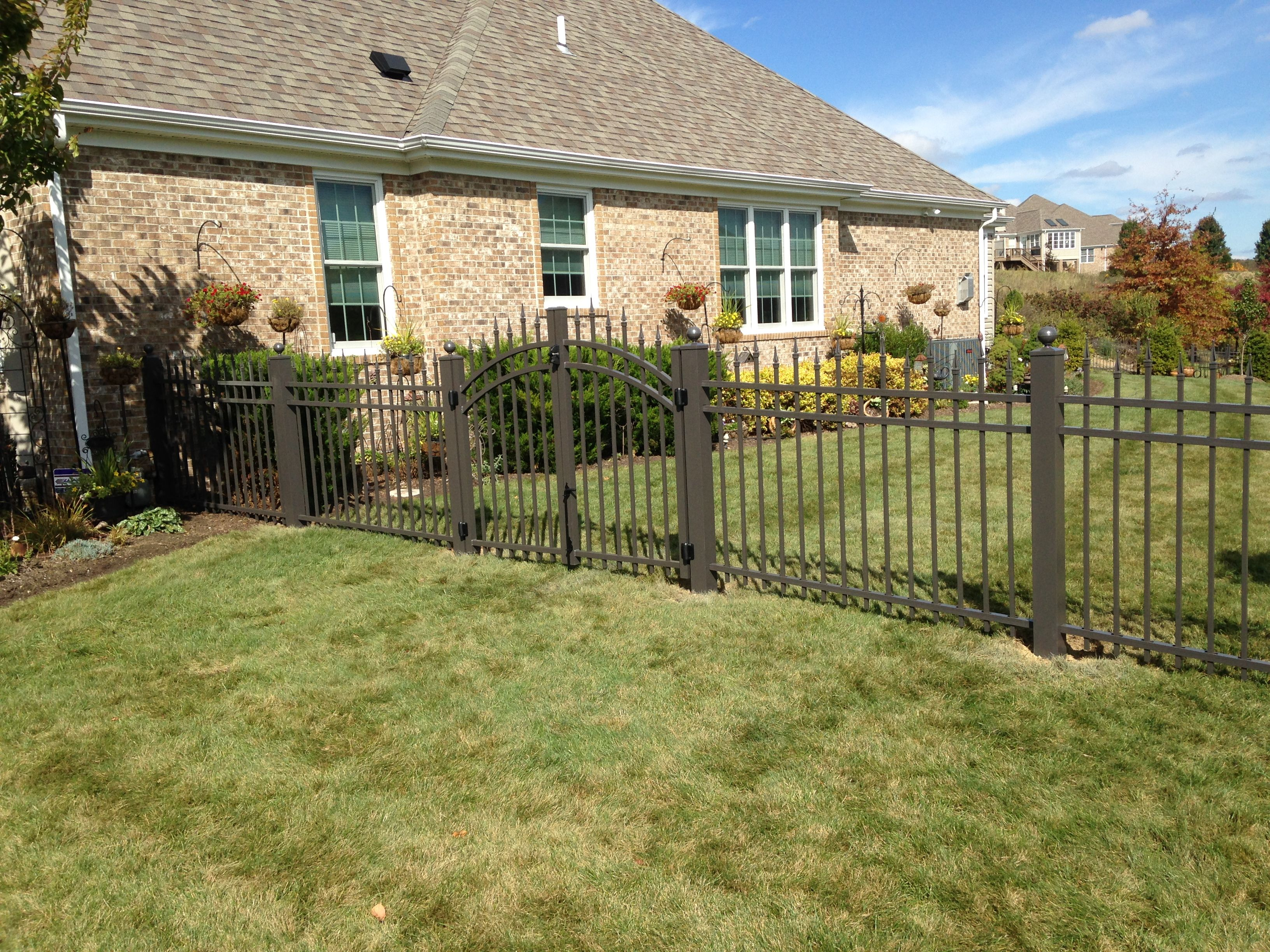 Bronze Aluminum With Staggered Finials And 4 Inch Posts Fenced In Yard Aluminum Fence Dog Yard