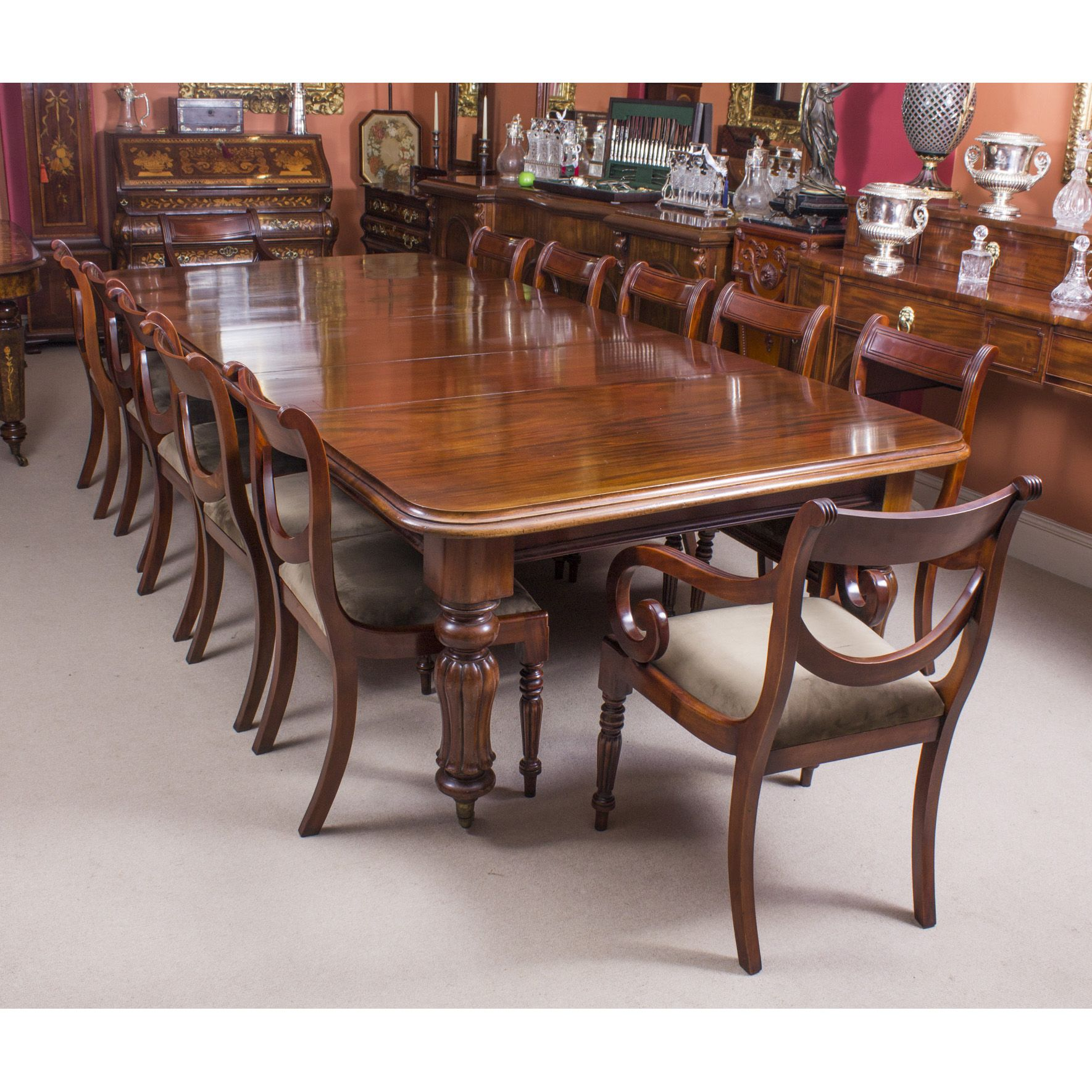 Antique William Iv Mahogany Dining Table 12 Swag Back Dining