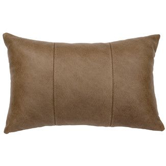 Wooded River Hayfield Leather Lumbar Pillow Leather Pillow Suede Throw Pillows Decorative Pillows
