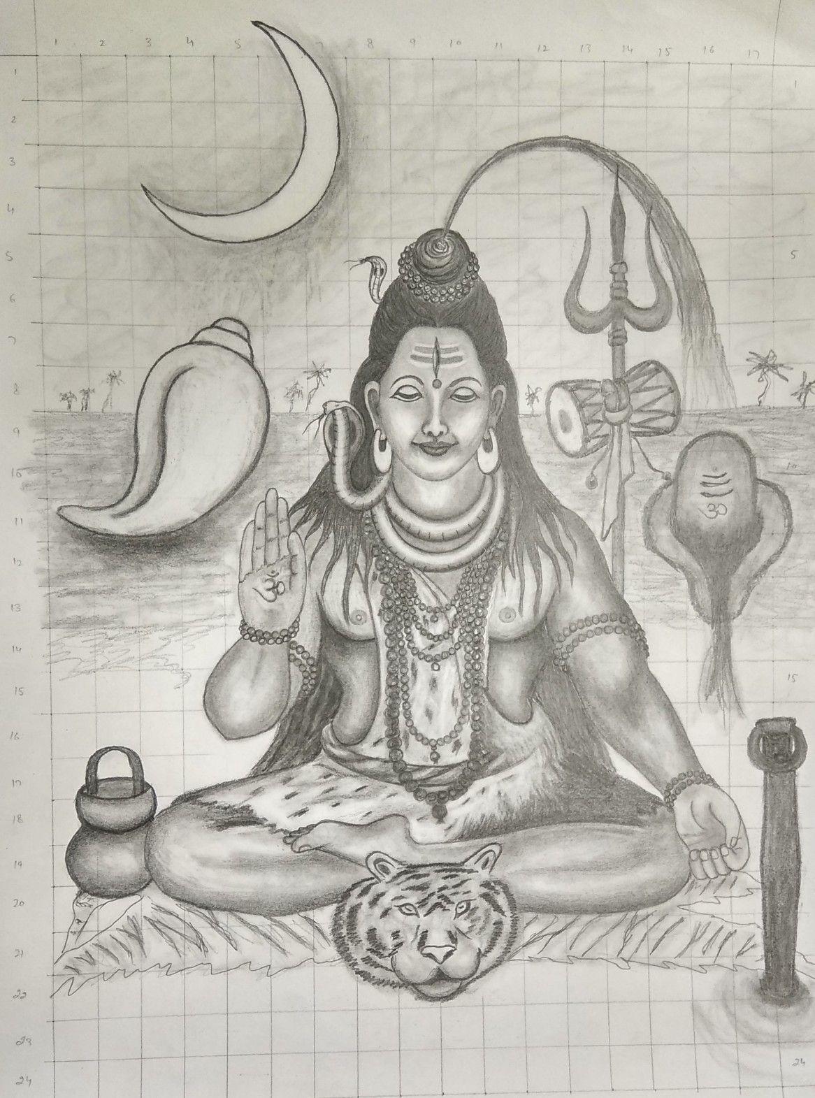 Pencil sketch of mahadeva
