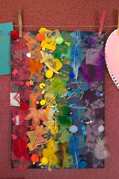 Can make as a collage, or might pre-paint a rainbow and have children sort colored objects onto rainbow as activity instead of as art project.