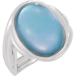Genuine Dyed Mother of Pearl with White Quartz Top Ring Item #: 69657:102:P 1 16X12 MM, Oval Cabachon Gemstone Doublet White Quartz/Dyed Blue Mother of Pearl