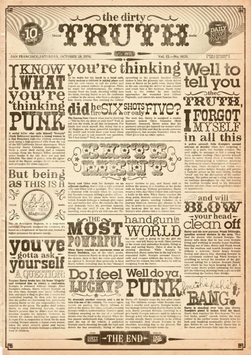 do you feel lucky punk? well do you? they used to be so creative - old newspaper template