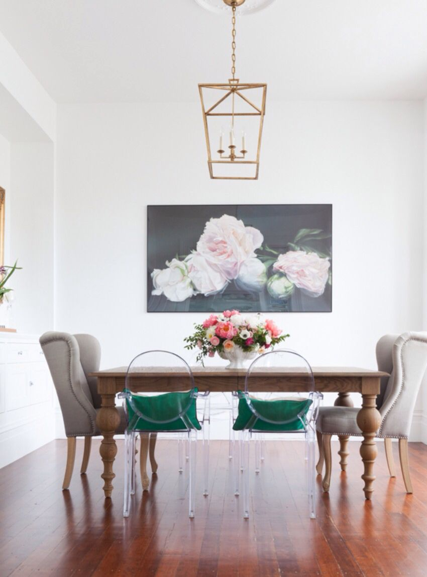 Dining Room With Wing Backs And Ghost Chairs Floral Art