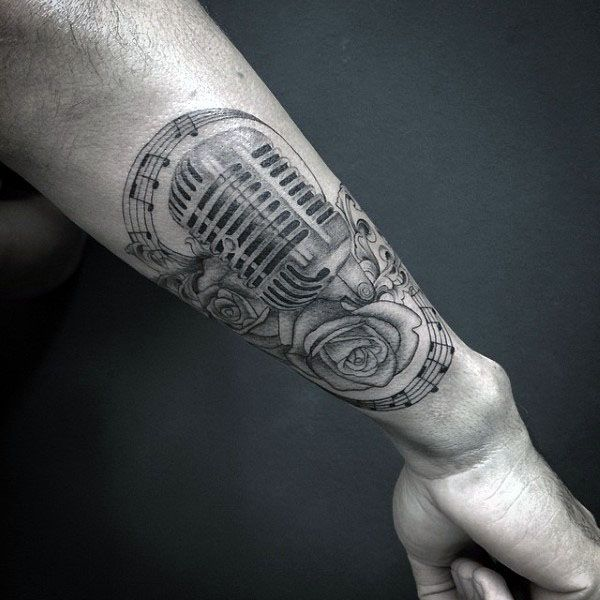 Incredible Musical Notes Tattoo With Microphone And ...