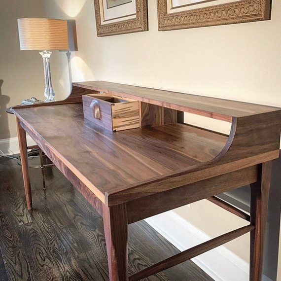 Handmade Walnut Writing Desk Desk Wood Desk Desk With Etsy Walnut Writing Desk Wooden Writing Desk Wood Desk