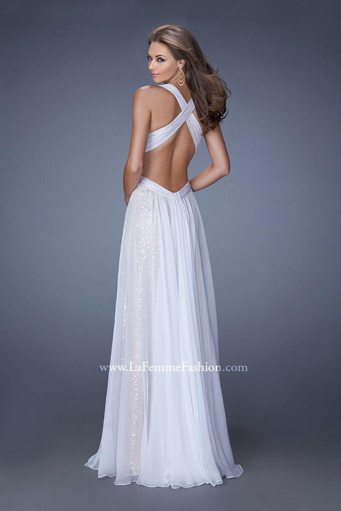 Pleasing La Femme 19255 Long Chiffon Prom Dress Open Back Prom Dress Hairstyle Inspiration Daily Dogsangcom