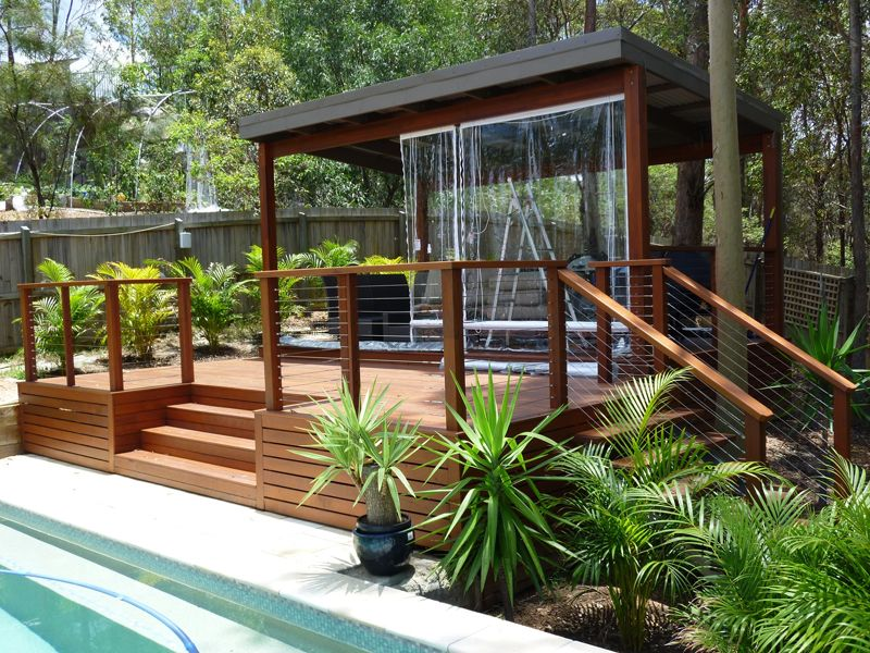 Pool houses and gazebos Brisbane pool house with handrail