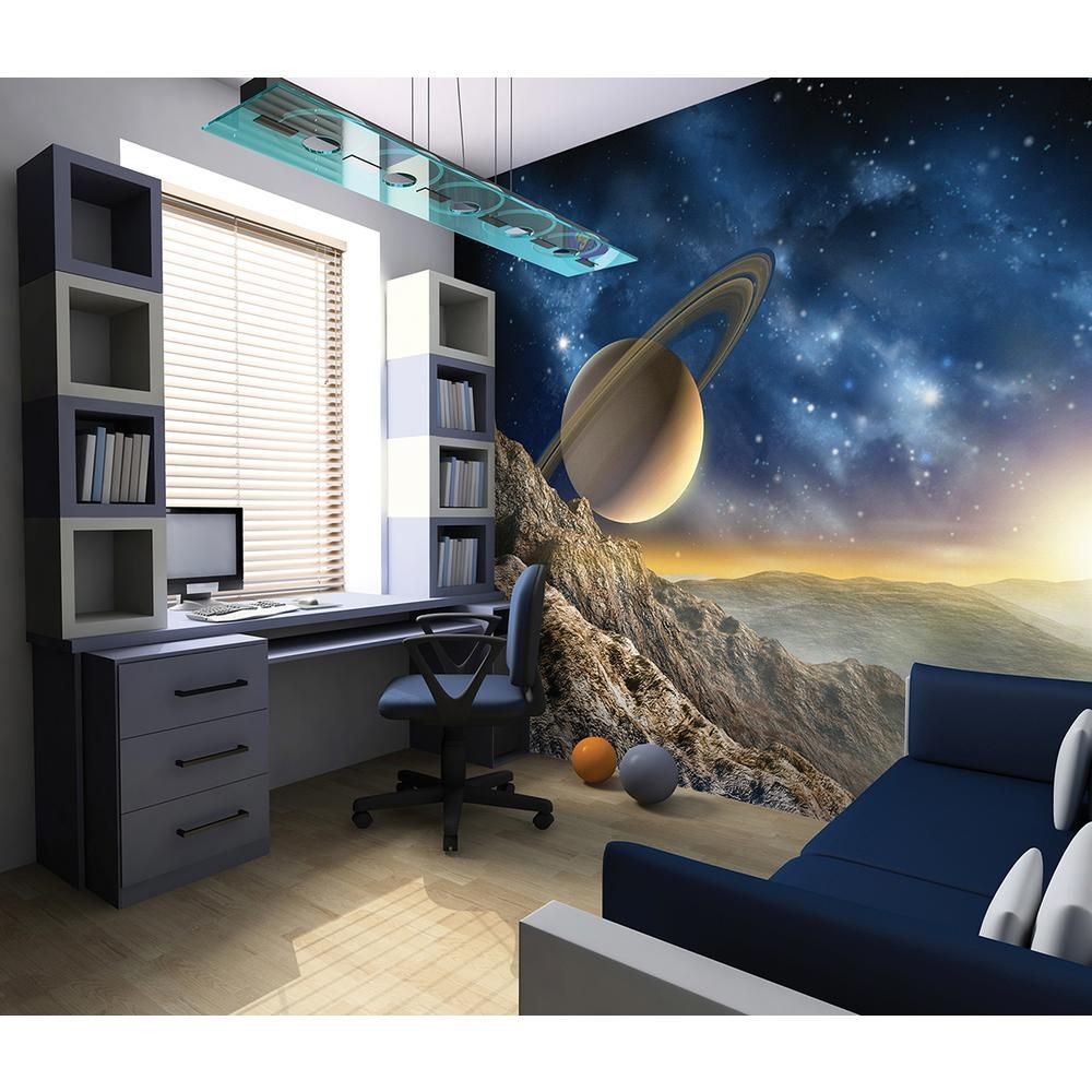 Brewster 118 In X 98 In Galaxy Wall Mural Space Themed Bedroom Space Themed Room Bedroom Themes