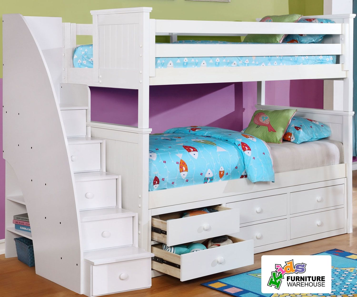 Allen House Chatham Bunk Bed with Stairs White