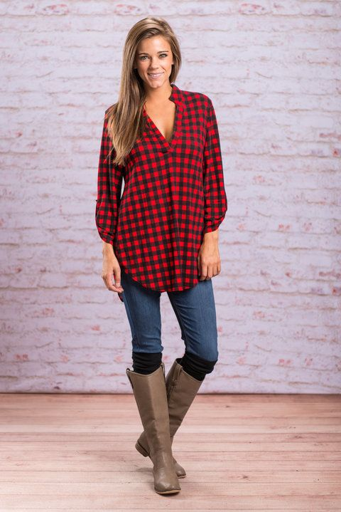 """""""Fall Is Coming Top, Red""""Fall is definitely coming! Are you prepared?! Well, if you don't have this plaid top then you aren't! #newarrivals #shopthemint"""