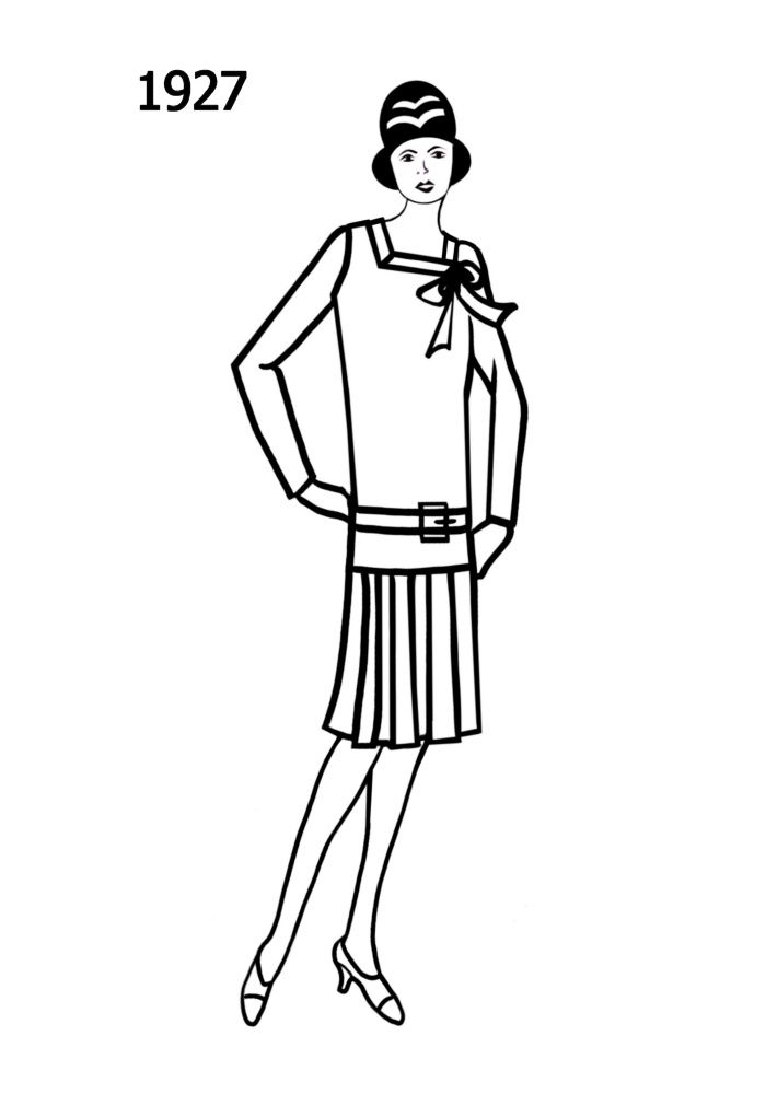 silhouette line drawing of at knee dress 1927 1920s