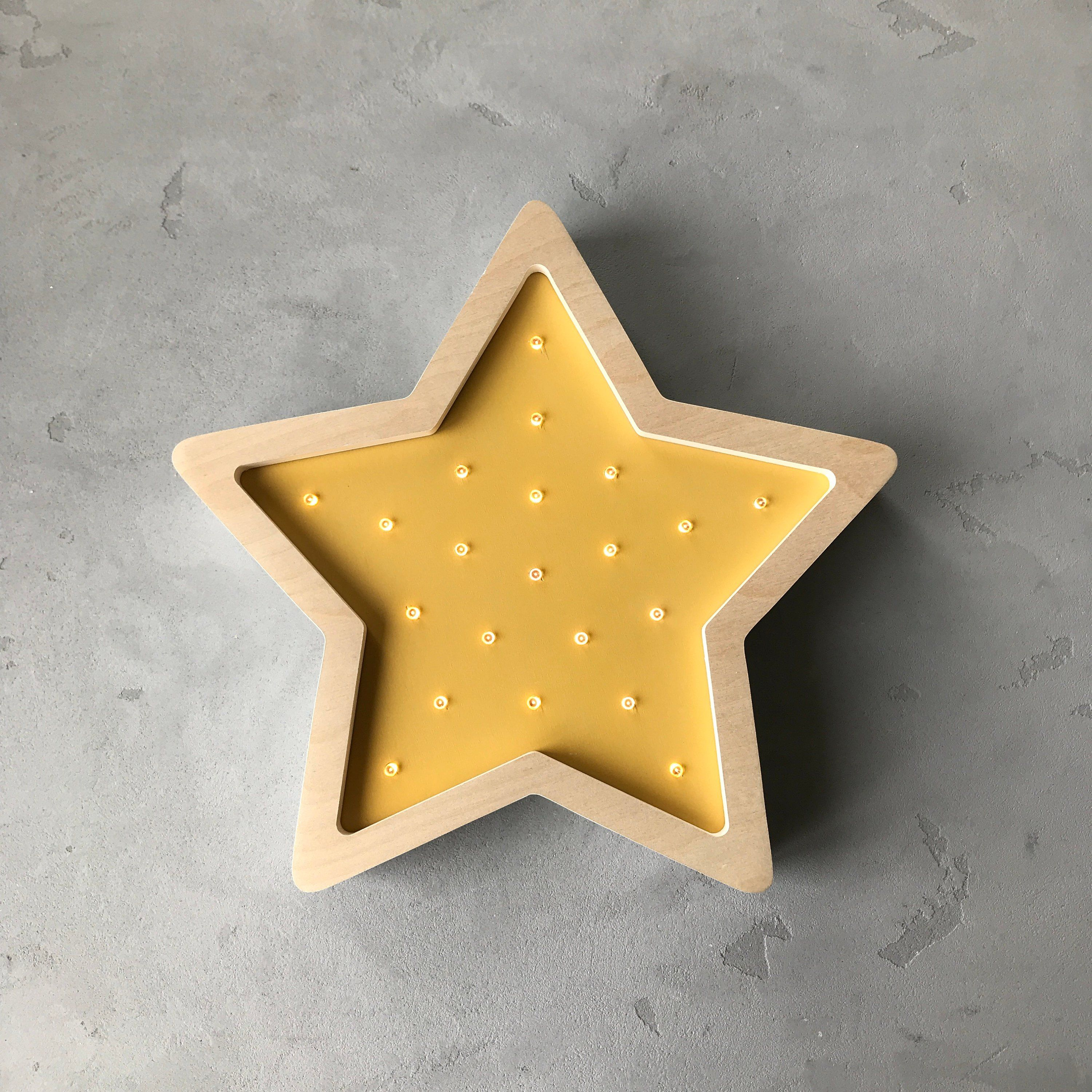 Wood Night Light Star Eco Wooden Wall Lamps Kids Babies Room
