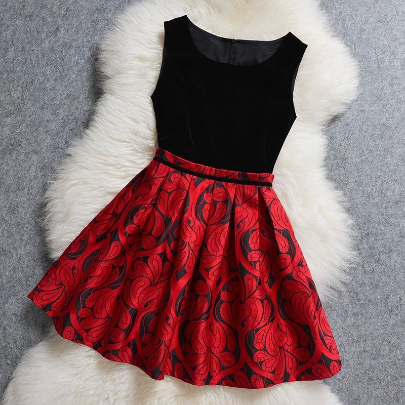 Lovely Black and Red Flower Print Short Dresses, Cute Short Party Dresses, Party  Dresses - Lovely Black And Red Flower Print Short Dresses, Cute Short Party