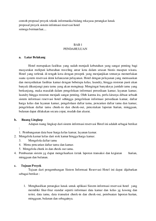 Doc Contoh Proposal Proyek Teknik Informatika Bidang Rekayasa Perangkat Lunak Eko Prasetiyo Academia Edu Perangkat Lunak Teknik Proposal