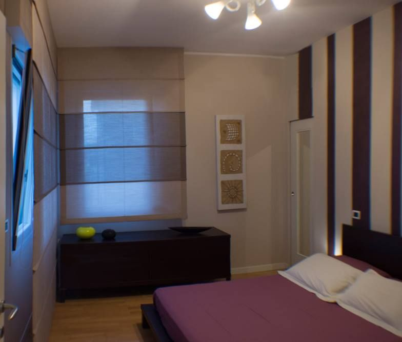 Bedroom tendaggi in chevronne di trevira cs bicolore con - Tende coin casa ...