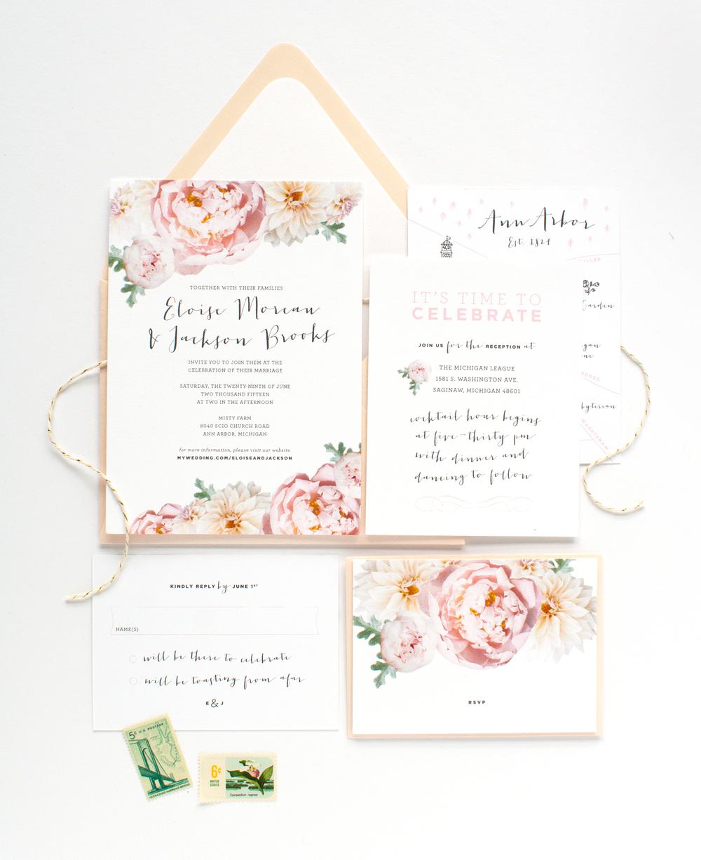 Blush And Green Wedding Invitation Suite