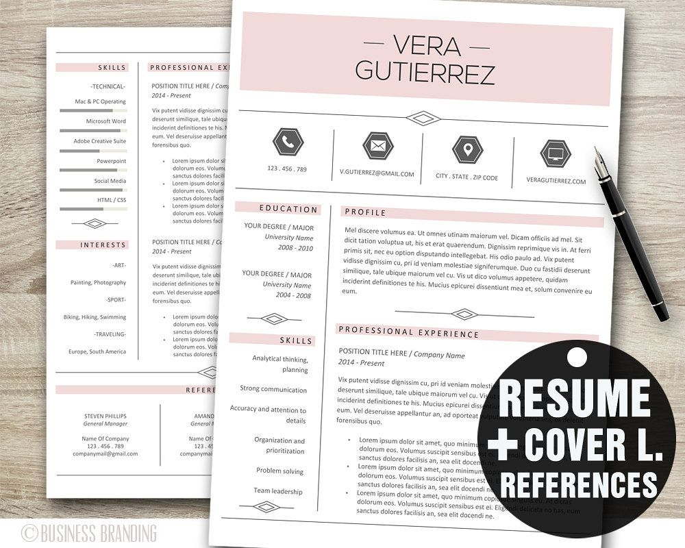 Pink Resume Template Word, Professional Resume Template,Resume ...
