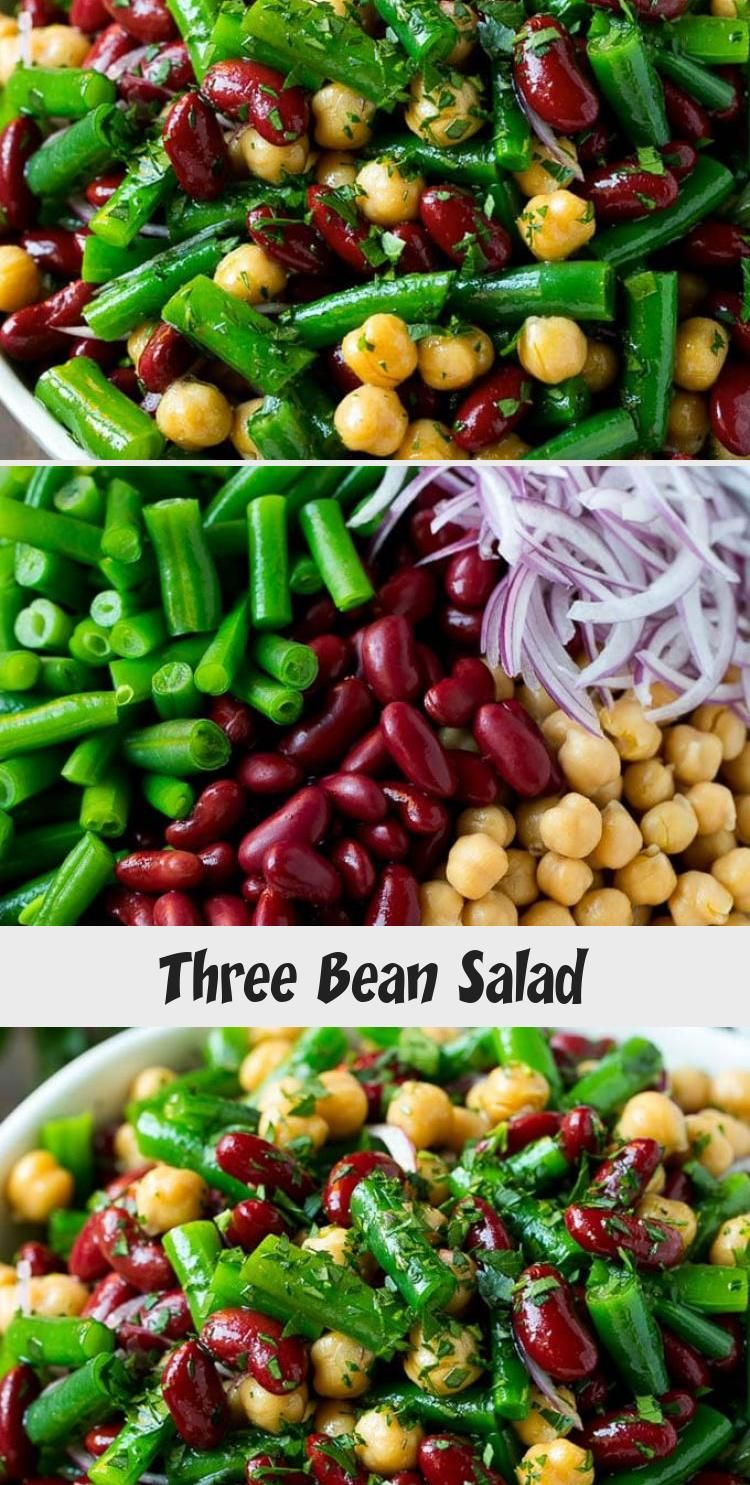 Three Bean Salad Recipe Bean Salad Green Bean Salad Chickpea Salad Salad Beans Vegetables In 2020 Bean Salad Recipes Spring Salad Recipes Warm Salad Recipes